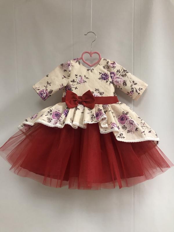 Нарядное гламурное платье  Сиреневая розочка  с рукавами и красным фатином
