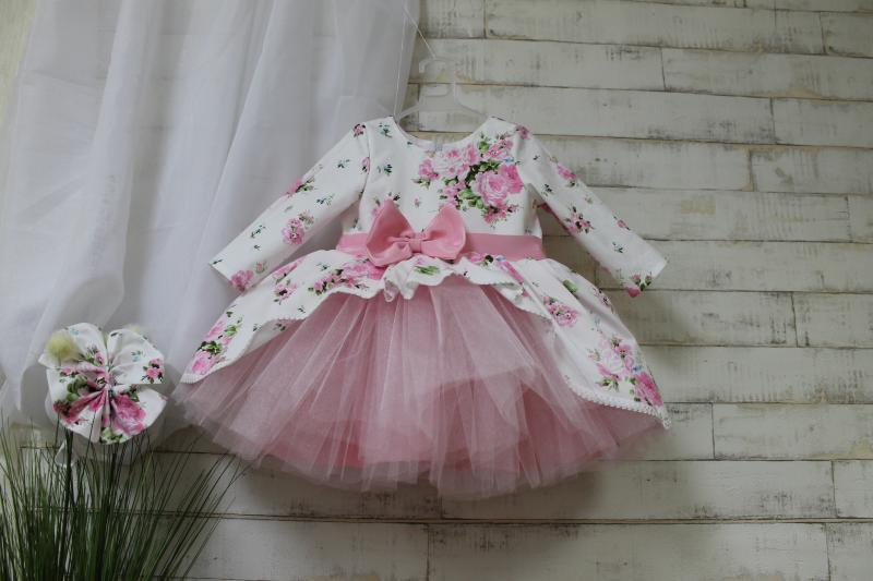Нарядное цветочное платье на девочку 125 с рукавами
