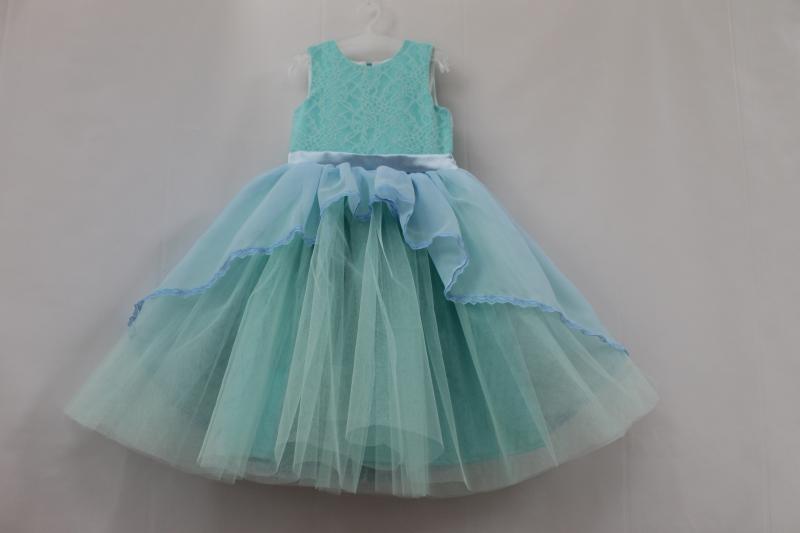 Нарядное платье на девочку  Мармеладка  в мятно - голубом цвете