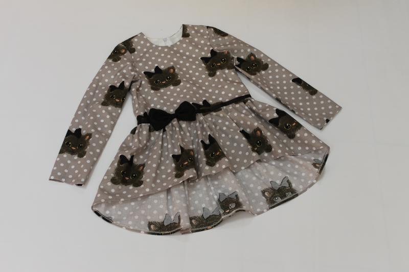 Повседневно - нарядная блуза - туника на девочку с котиками