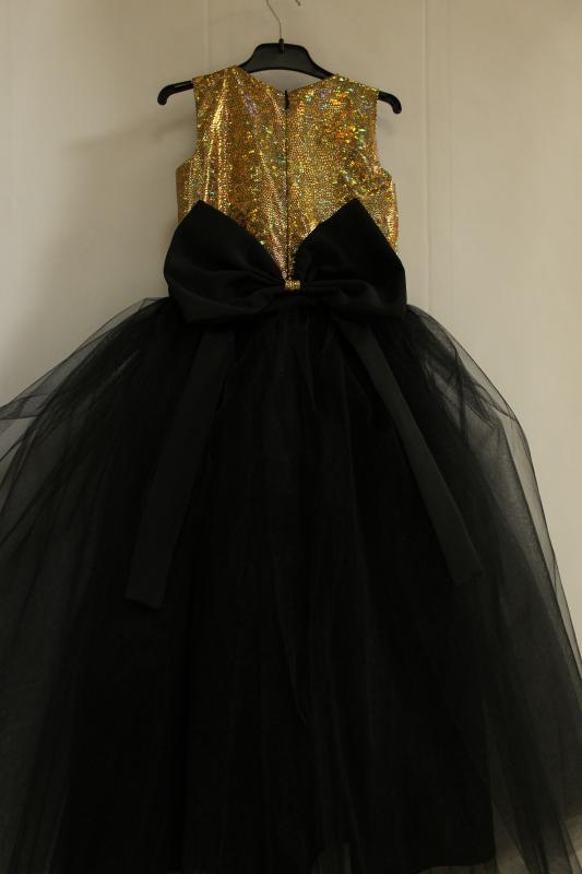 Нарядное платье на девочку  Золото с черным  № 63