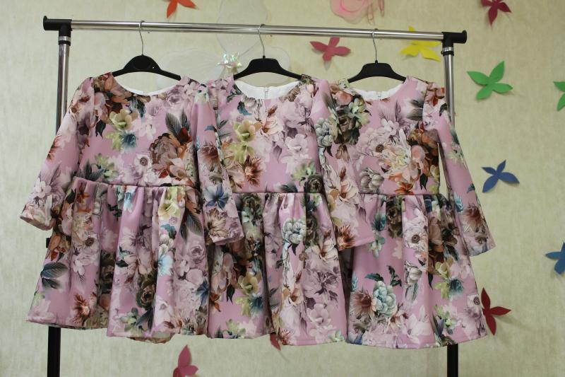 Повседневно - нарядное платье на девочку   Цветочек гламура  с рукавами
