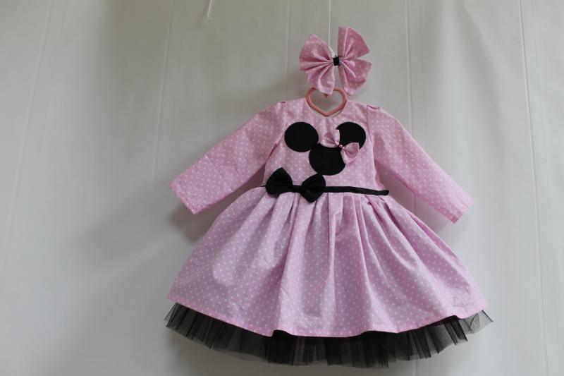 Нарядное платье на девочку в стиле  Минни маус  с рукавами