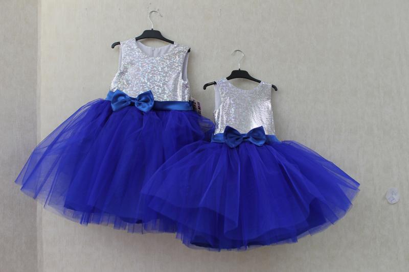 Нарядное платье на девочку  Милания  серебро с синим