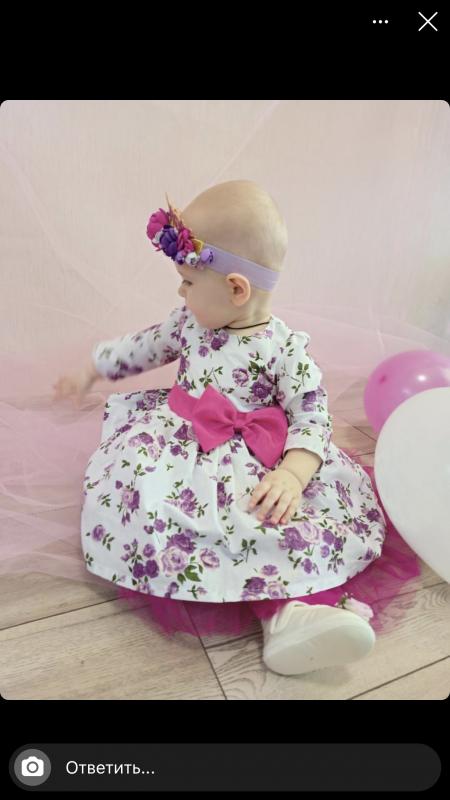 Нарядное платье на девочку в цветочек 1222