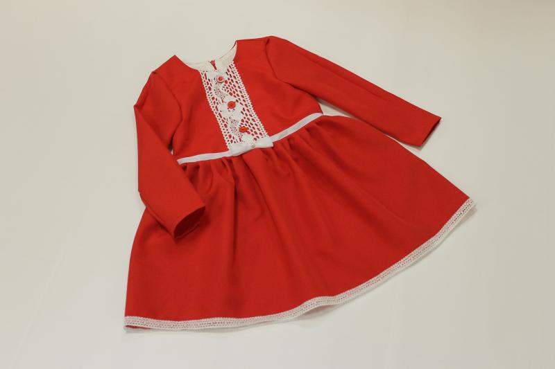 Повседневно - нарядное красное платье на девочку № 52 с рукавами