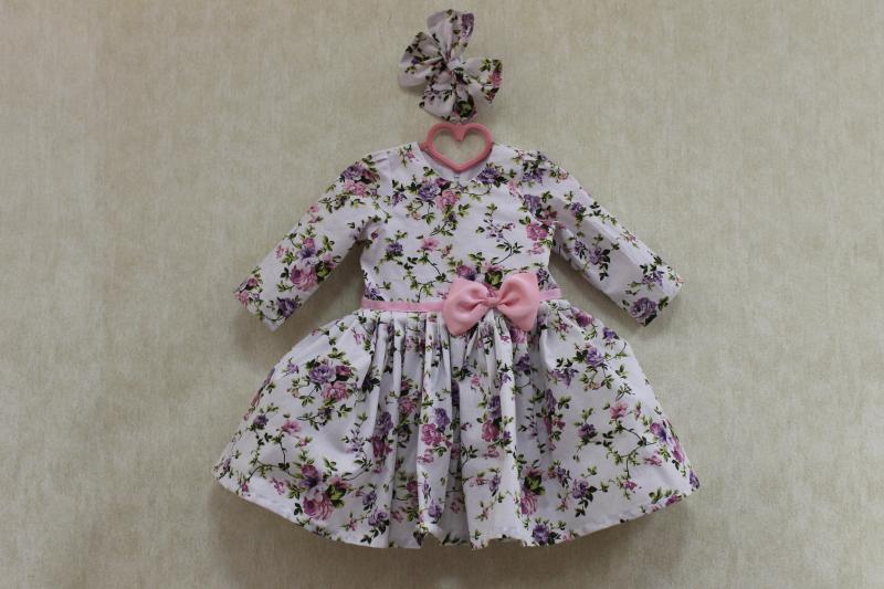 Повседневно - нарядное платье на девочку  цветочное настроение  с розовым поясом и бантиком, и рукавами