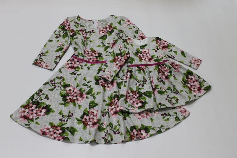платья на маму и доченьку с рукавами № 62