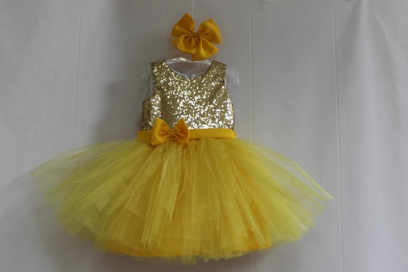 Нарядное платье на девочку с пайетками и желтым низом № 76