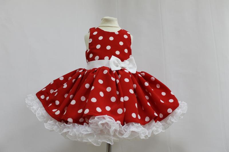 Нарядное платье на девочку в стиле Стиляги  красное в белый горошек   с 2-м подьюпником