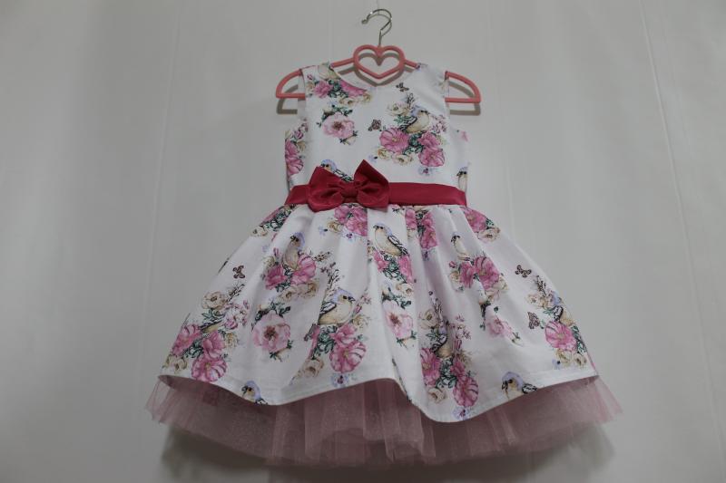Нарядное платье с птичками на девочку № 83