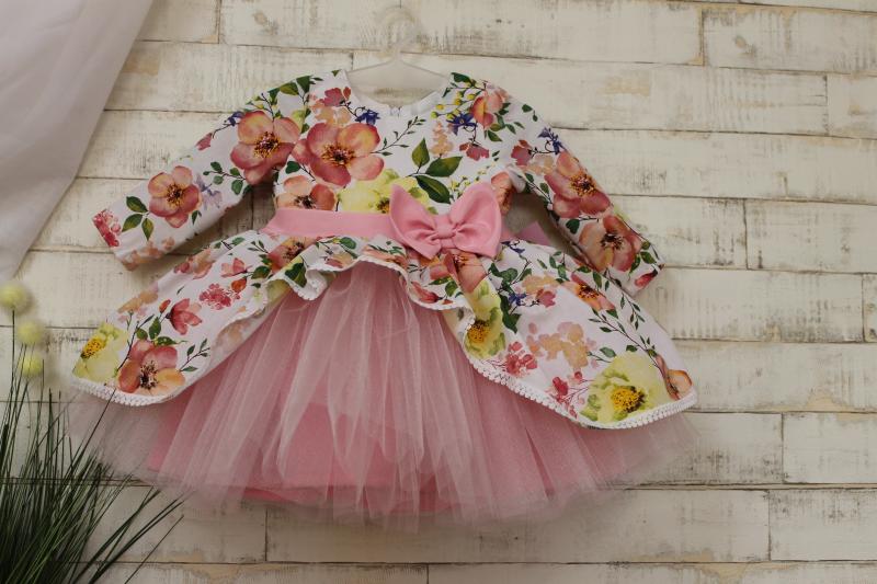 Нарядное цветочное платье на девочку 12567 с рукавами
