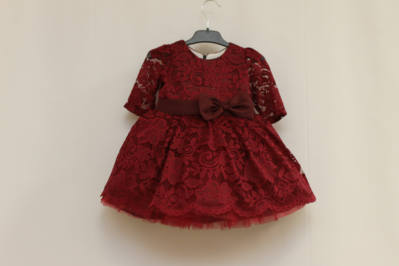 Нарядное платье на девочку  Бордовый гипюрчик ., с рукавами