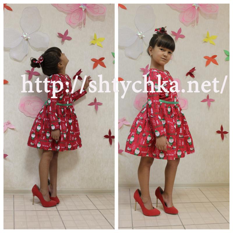 Новогоднее платье на девочку с рукавами №63