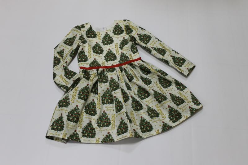 Повседневно - нарядное новогоднее платье на девочку с рукавами № 78