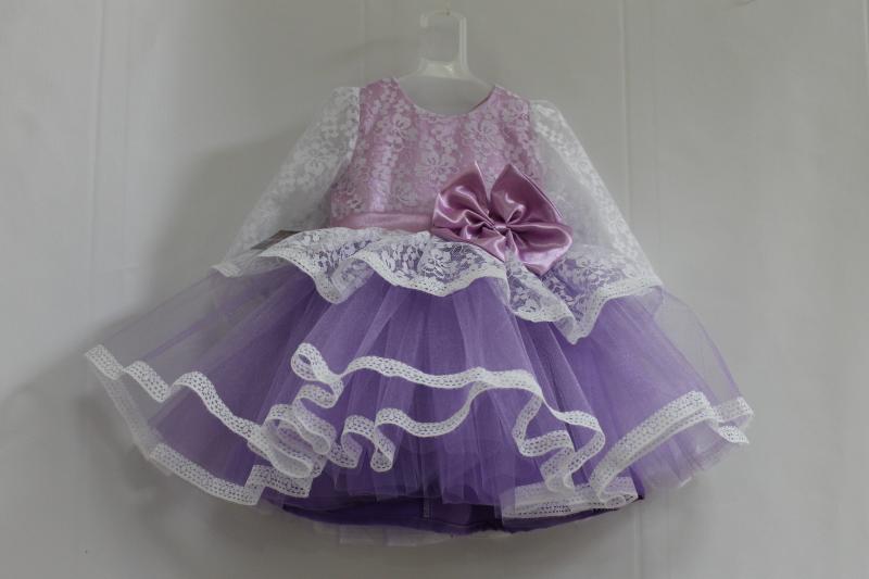 пышное платье на девочку с рукавами № 38