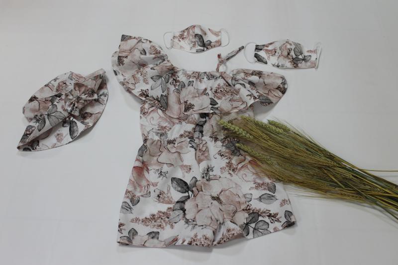 Летний ромпер на девочку с натуральной ткани № 107