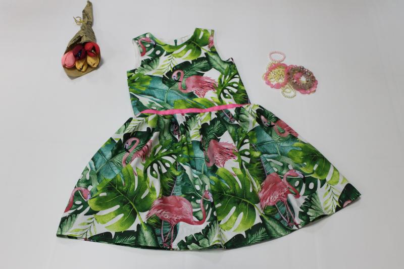 Повседневно - нарядное платье на девочку с фламинго без рукавов № 103