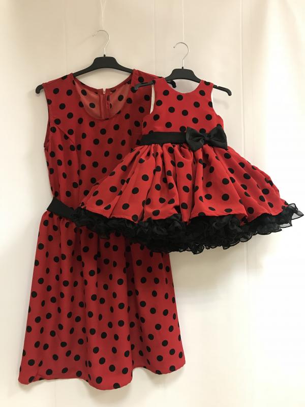 Платья на маму и доченьку  Красное в черный горошек