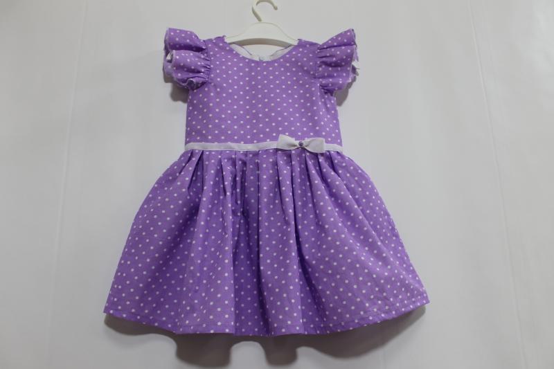 Летнее платье на девочку с крылышками № 86 в сиреневом цвете