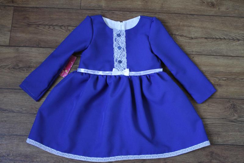 Повседневно - нарядное платье на девочку   синее с пуговичками