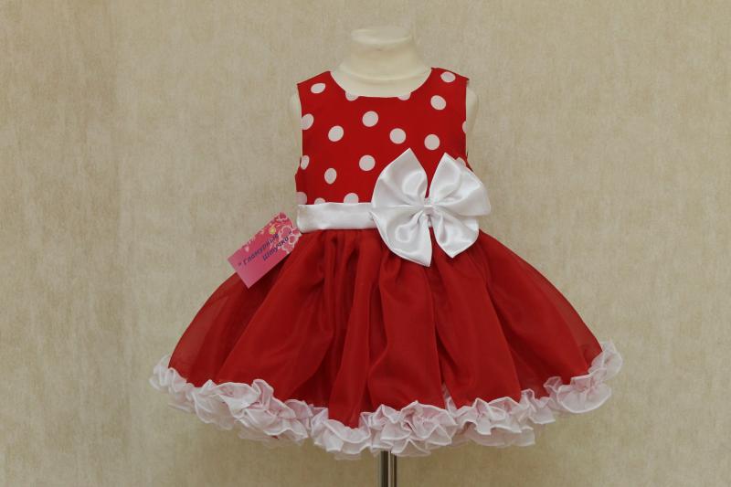Пышное платье на девочку  Минни - маус красное