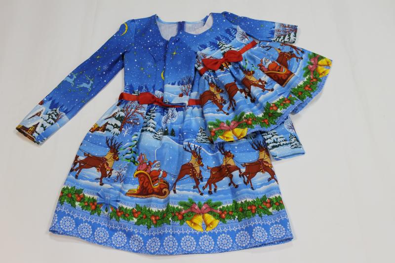 Повседневно - нарядное платье на маму и доченьку (в стиле Фемели Лук)   Новогодние олени и снеговички (мама отрезное на талии).