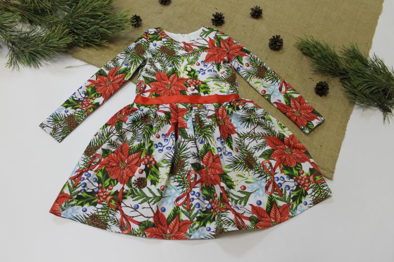 Повседневно - нарядное новогоднее платье на девочку  №112