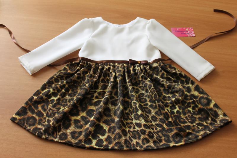 Повседневно - нарядное платье на девочку   Леопардовое настроение