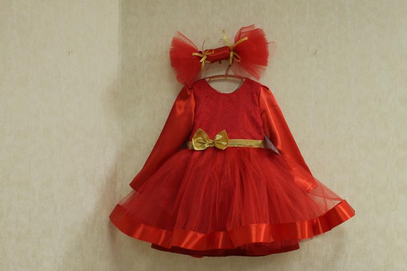 Нарядное платье на девочку в стиле  Конфетка  красное