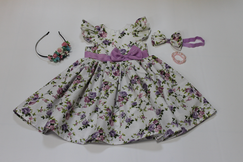 Цветочное платье на девочку с крылышками № 108