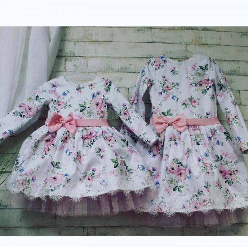 Нарядное платье с рукавами #115 и кружевом