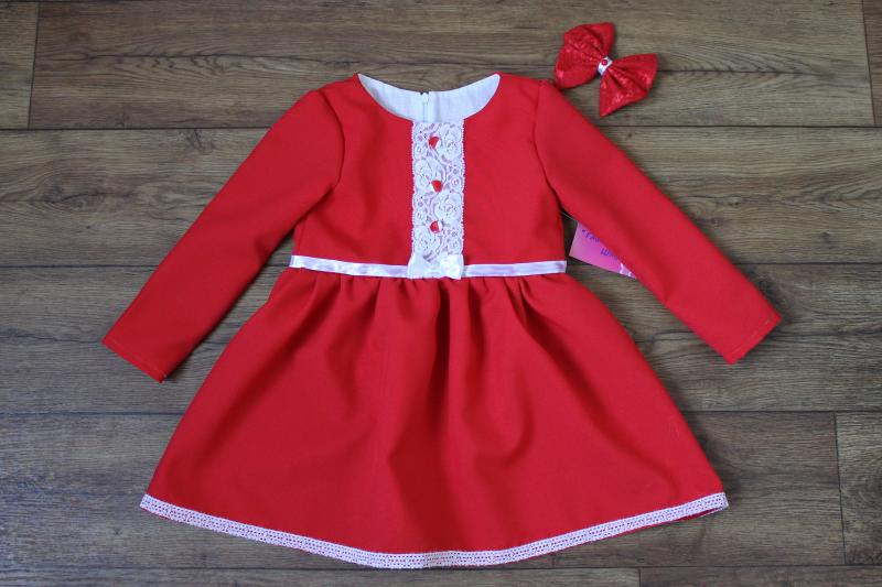 Повседневно - нарядное платье на девочку   Красное с пуговичками