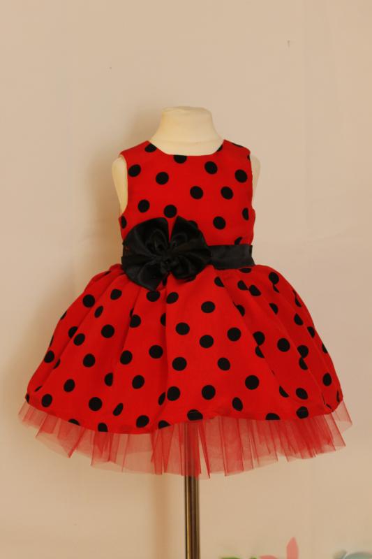 Нарядное платье на девочку  Гламурная горошинка  красное с черным