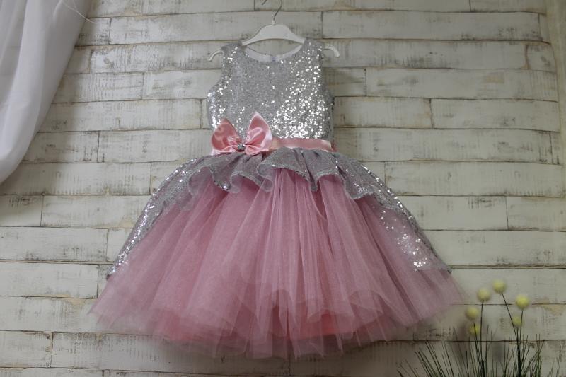 Нарядное платье с пайетками на девочку № 121