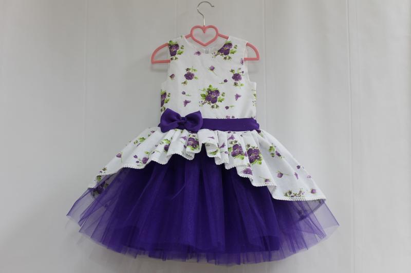 Нарядное платье на девочку  Фиолетовая фиалка  с фиолетовым фатином