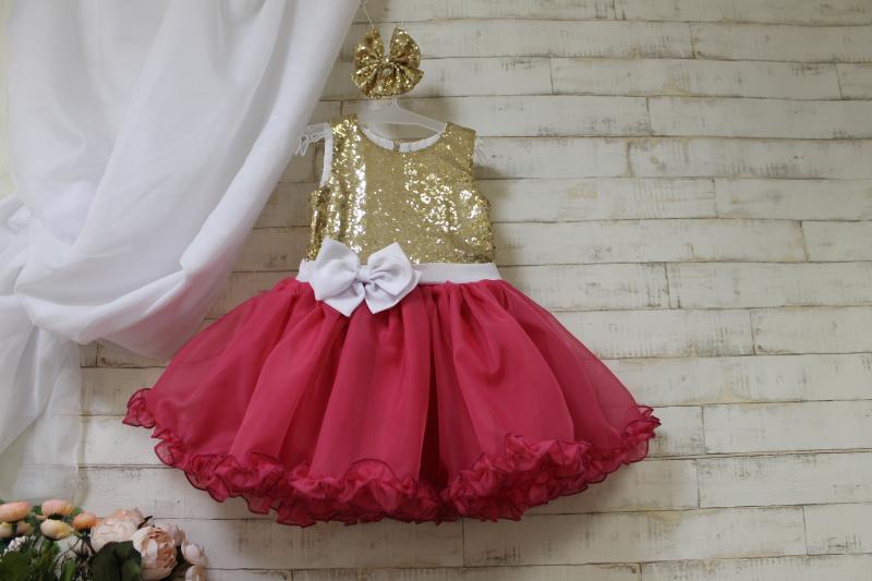 Нарядное платье на девочку золото с малиновым №110