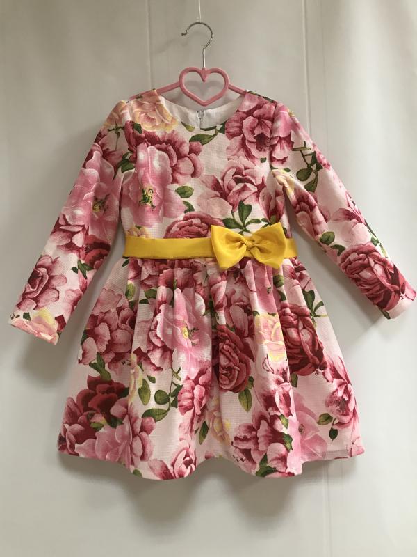 Повседневно - нарядное платье на девочку  розочка цветочек  с рукавами