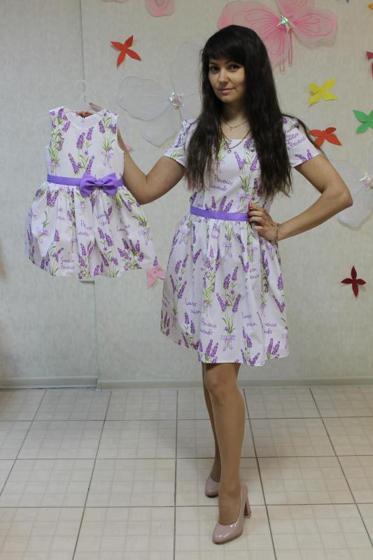 Лавандовые платья на маму и доченьку
