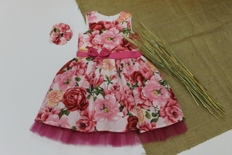 Нарядное платье на девочку с малиновым фатином № 106