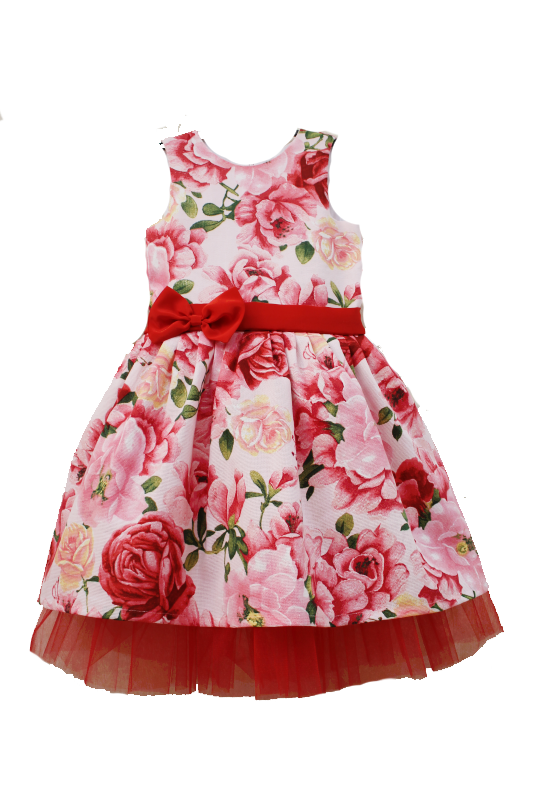Нарядное платье на девочку  Розочка - цветочек  с красным фатином