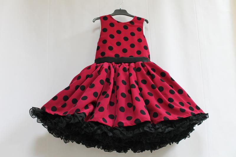 Нарядное платье на девочку в стиле  Стиляги  малиновое с черным горохом